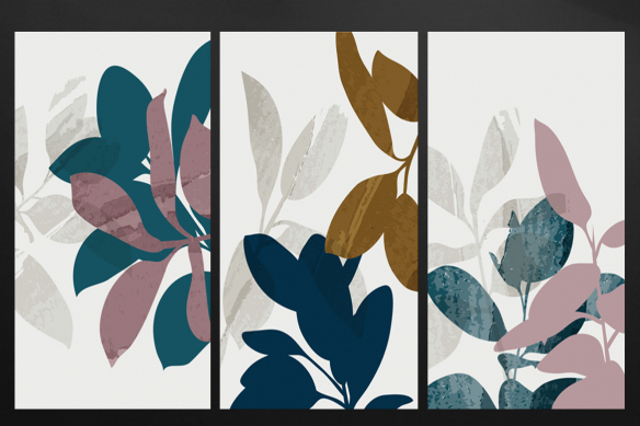 Toile-triptyque-plantes-et-feuilles