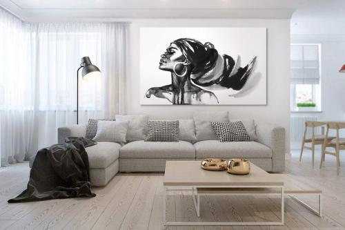 Tableau africain Femme noir et blanc