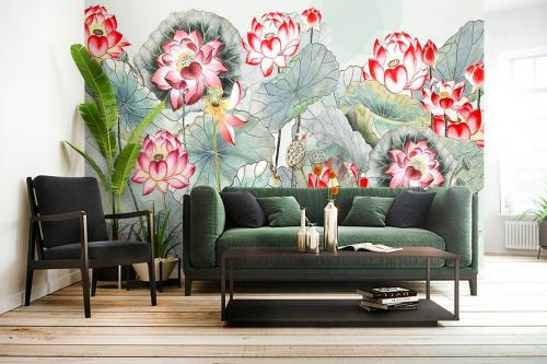 Papier peint salon Lotus pastel
