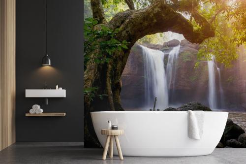 Papier peint salle de bain Grand chêne et lac