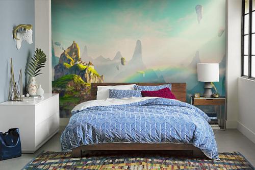 papier peint panoramique chambre montagne dans les nuages