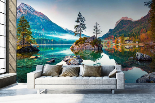 Papier peint panoramique Sapins et rochers