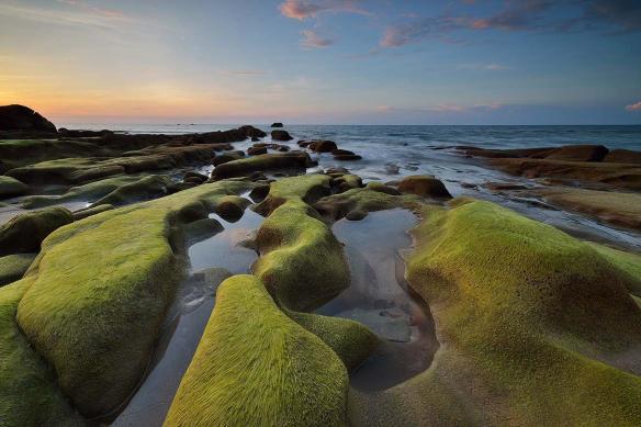 tableau-paysage mer plage rochers