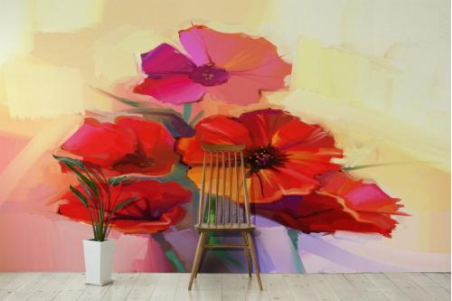 Papier peint fleuri Compo coquelicots
