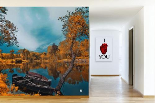 papier peint couloir lac et arbres