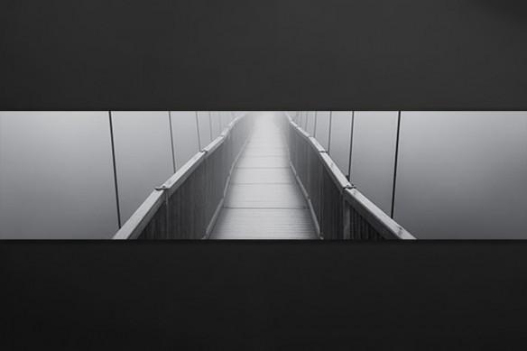 crédence décoration pont suspendu noir et blanc