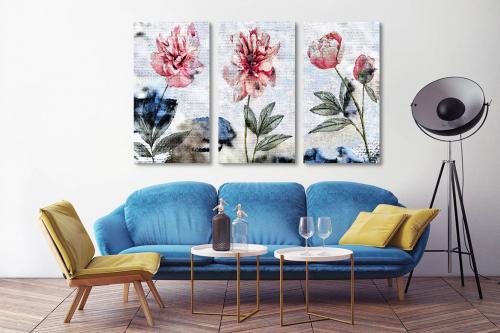 Tableau triptyque Délicatesse fleurie