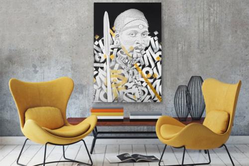 Tableau street art l'Africain blanc et or