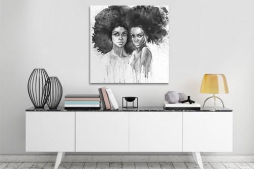 Tableau africain noir et blanc Femmes duo