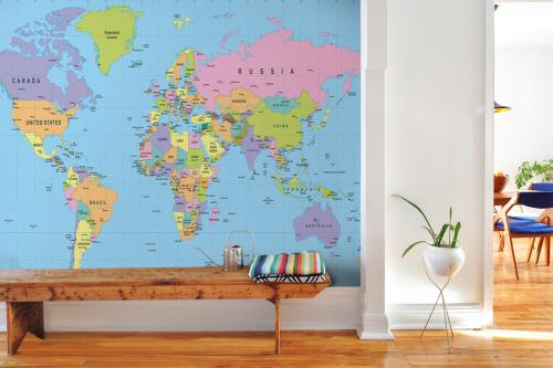 Papier peint planisphère coloré