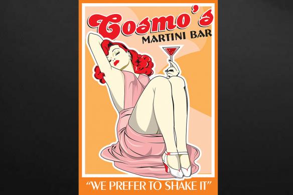 Tableau cuisine rétro Martini bar
