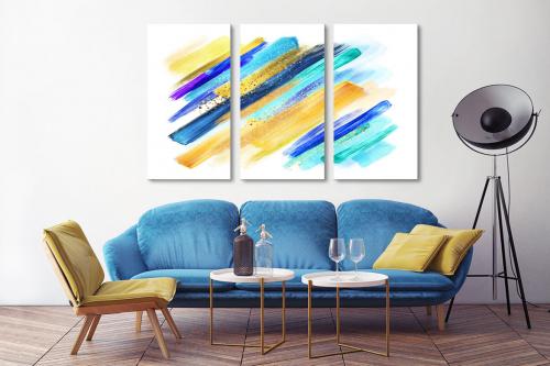 Tableau triptyque abstrait bleu et jaune