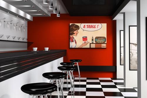 Tableau-déco-retro-cuisine-moderne-rouge
