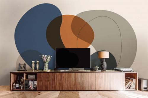 Papier peint salon Galets orange bleu et gris