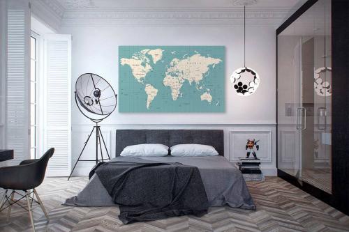 Tableau carte du monde vert bleu