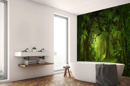 papier peint jungle verte salle de bain
