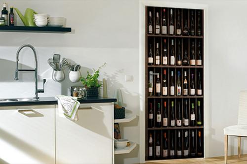 Sticker porte trompe l'œil Bouteilles de vin