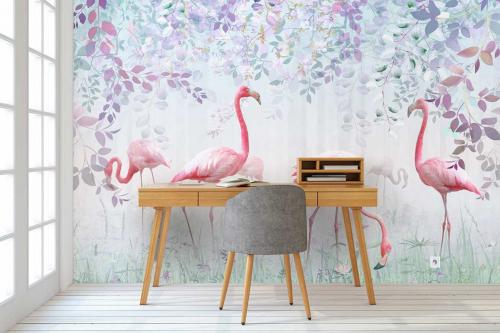 Papier peint flamants rose forêt tropicale