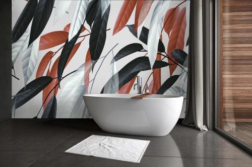 papier-peint-salle de bain feuillage-saule-fauve