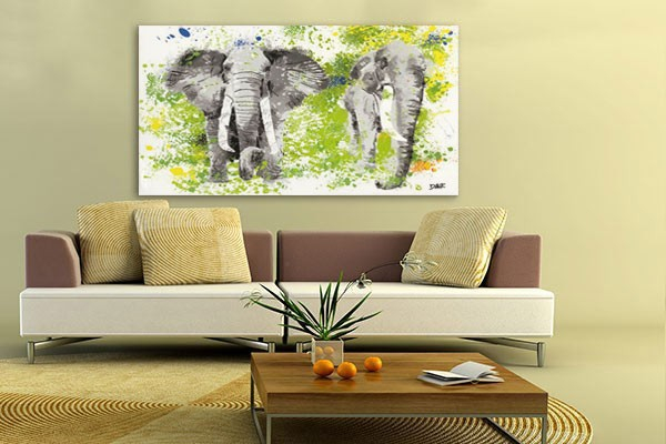Tableau xxl el phants d coration murale izoa for Decoration murale voyage