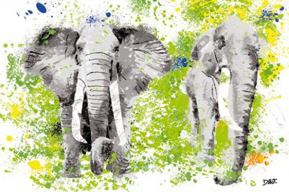Eléphants peinture murale
