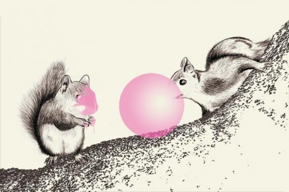 Ecureuil bulles de chewgum