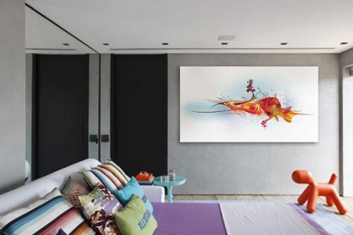 tableau contemporain poisson rouge : tableaux déco pour le salon