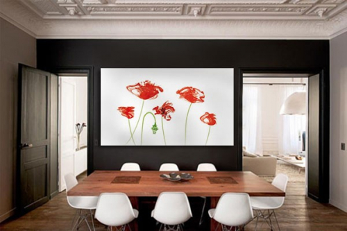 tableau grand format fleurs rouges izoa. Black Bedroom Furniture Sets. Home Design Ideas