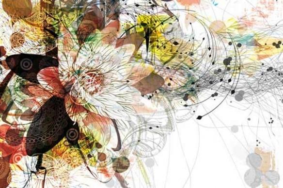tableau décoration design fleur marron