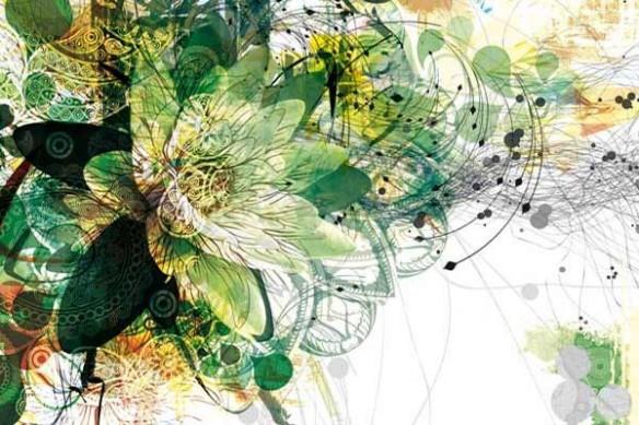tableau décoration moderne fleur vert
