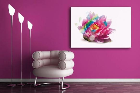 Tableau Design déco Fleur Rainbow