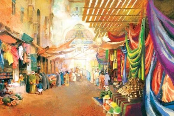 toile déco murale marché arabe