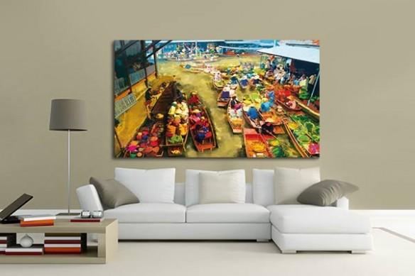 Tableau déco murale barque vietnam