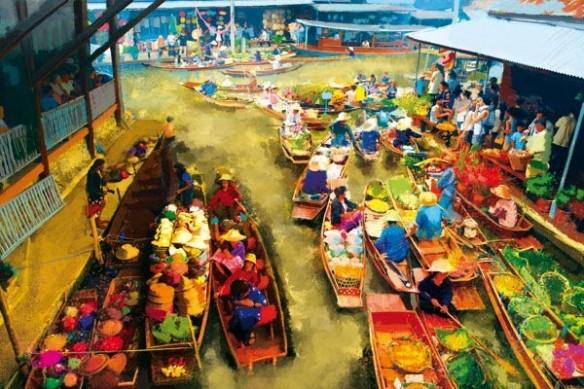 tableau déco marché contemporain asiatique