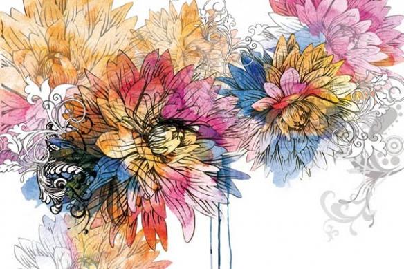 fleur déco design aquarelle