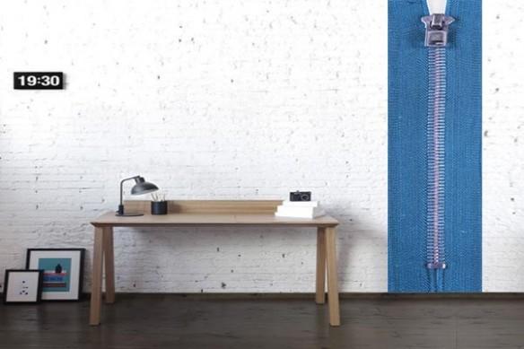 Papier peint design Zip bleu