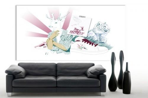 tableau moderne sommes nous des animaux izoa. Black Bedroom Furniture Sets. Home Design Ideas