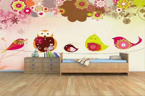 papier peint decoratif les oiseaux sur un fil