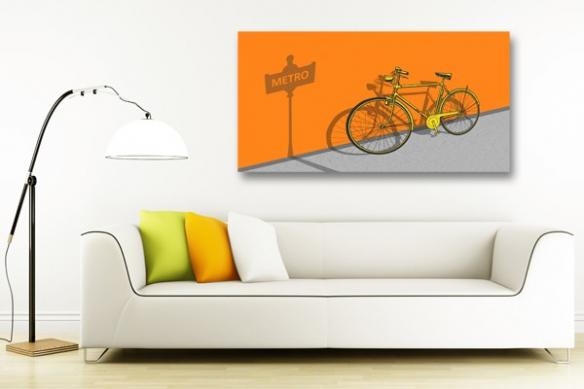 Tableau déco Vélo orange