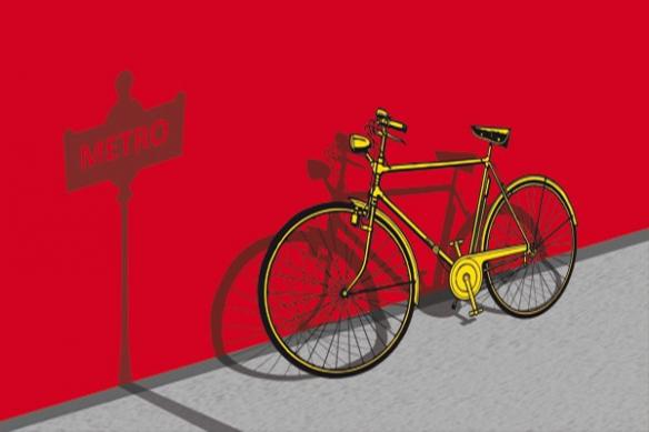 Tableau déco Vélo rouge