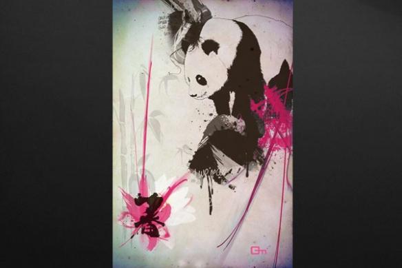 Tableau Panda décoration zen rose