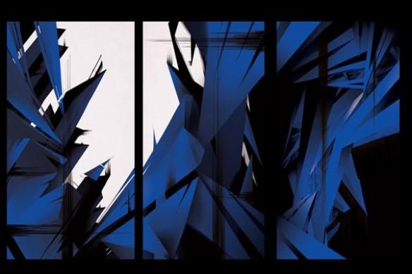 Tableau triptyque design abstrait bleu