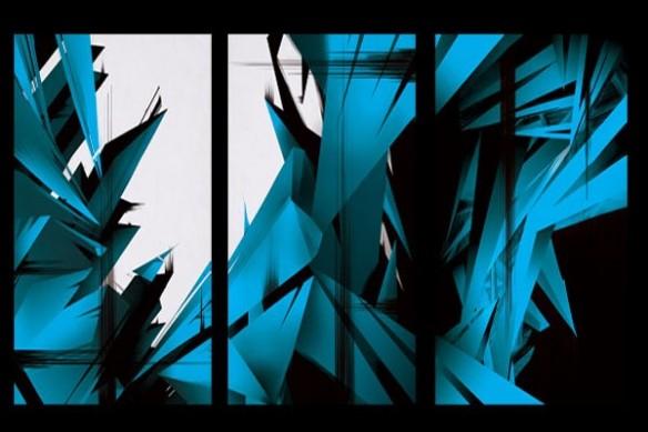 Tableau triptyque abstrait mural