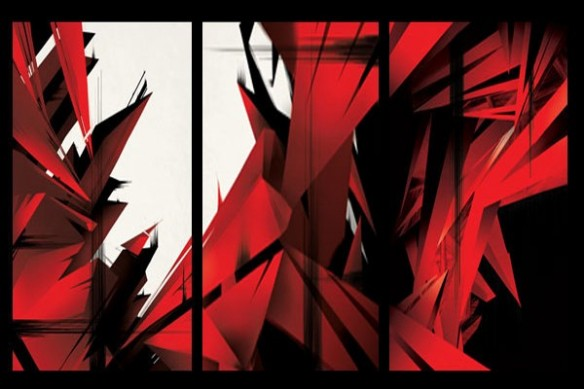 Tableau rouge abstrait triptyque