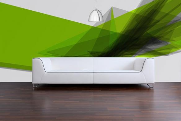 Papier peint Moderne Superposition vert