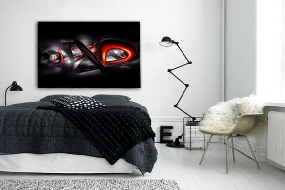 chambre Tableau déco Abstrait Bakota rouge