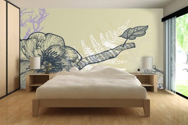 Papier peint moderne fleurs et foug res izoa - Papier peint contemporain chambre ...