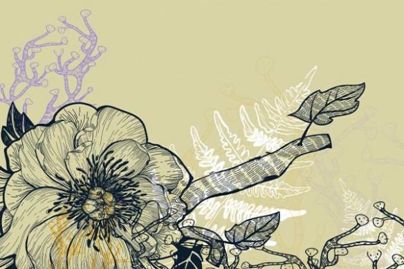 Papier peint fleurs et fougères