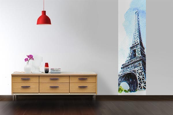 papier peint paris tour eiffel aquarelle izoa. Black Bedroom Furniture Sets. Home Design Ideas