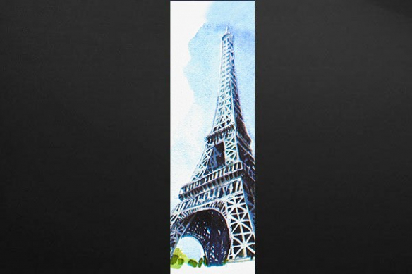 Papier peint salon Tour Eiffel Aquarelle